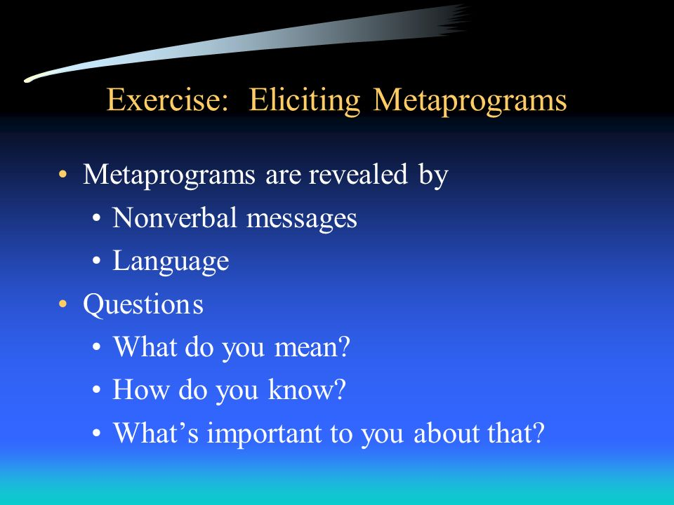 Exercise: Eliciting Metaprograms