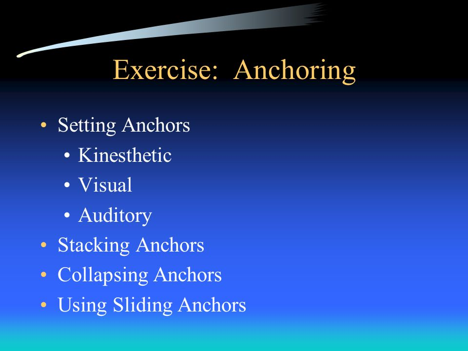 Exercise: Anchoring Setting Anchors Kinesthetic Visual Auditory