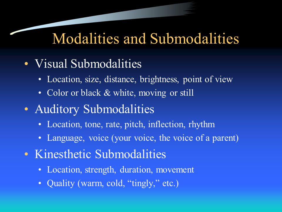 Modalities and Submodalities