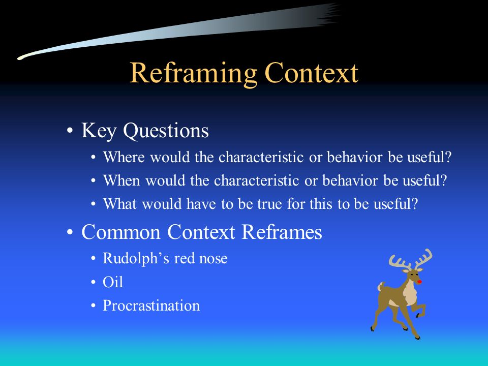 Reframing Context Key Questions Common Context Reframes