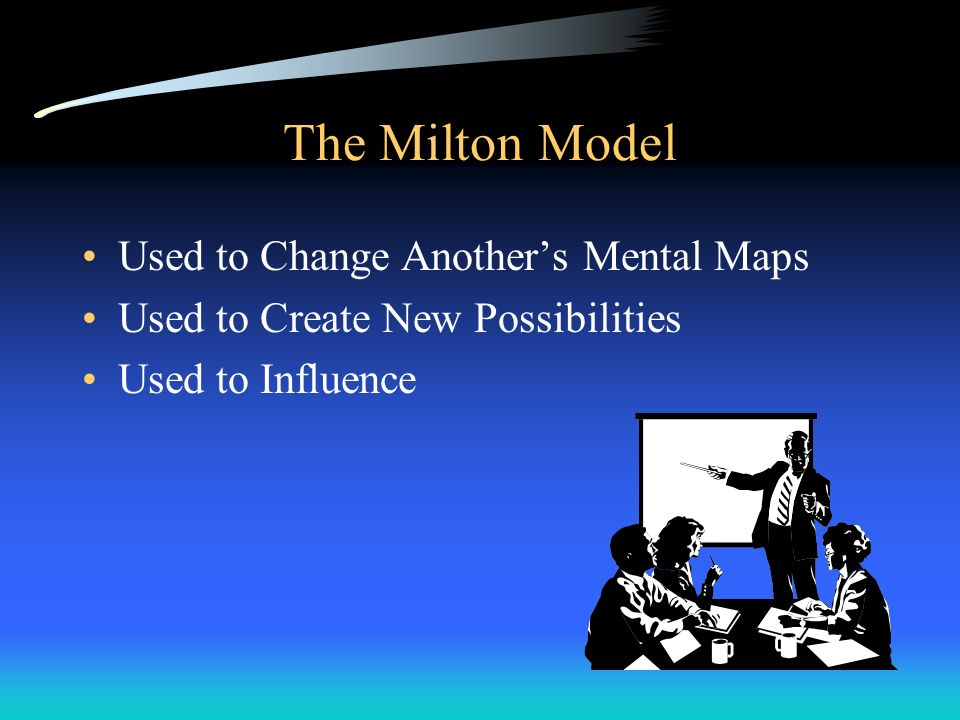 The Milton Model Used to Change Another's Mental Maps