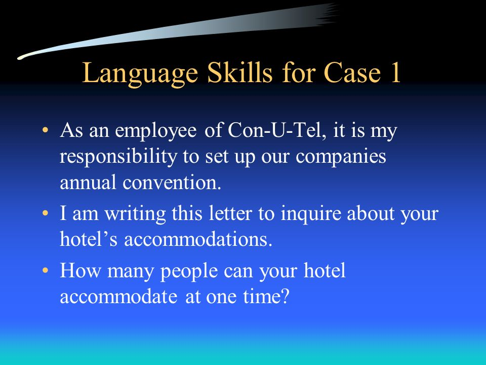 Language Skills for Case 1