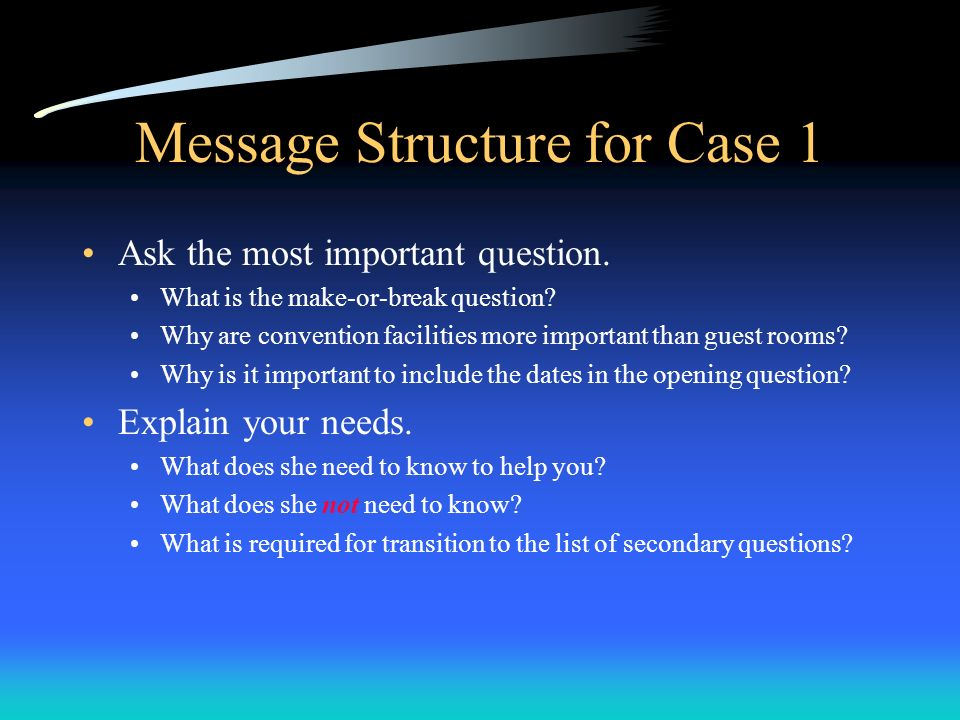 Message Structure for Case 1
