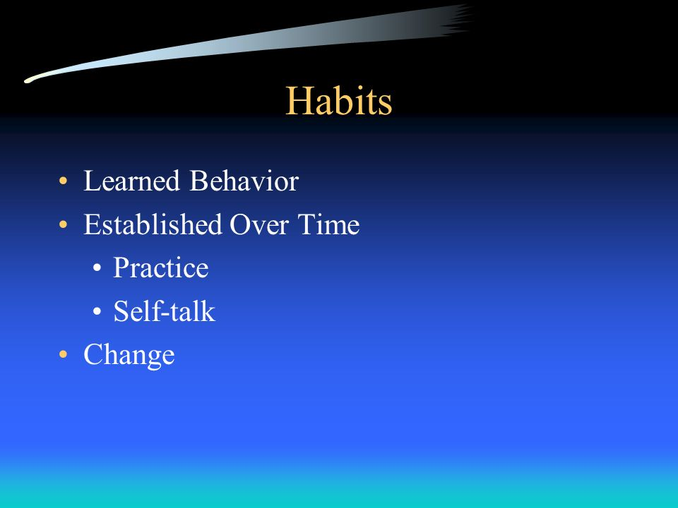 Habits Learned Behavior Established Over Time Practice Self-talk