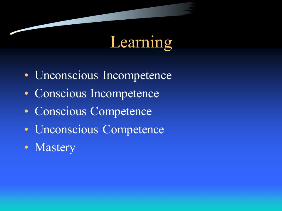 Learning Unconscious Incompetence Conscious Incompetence