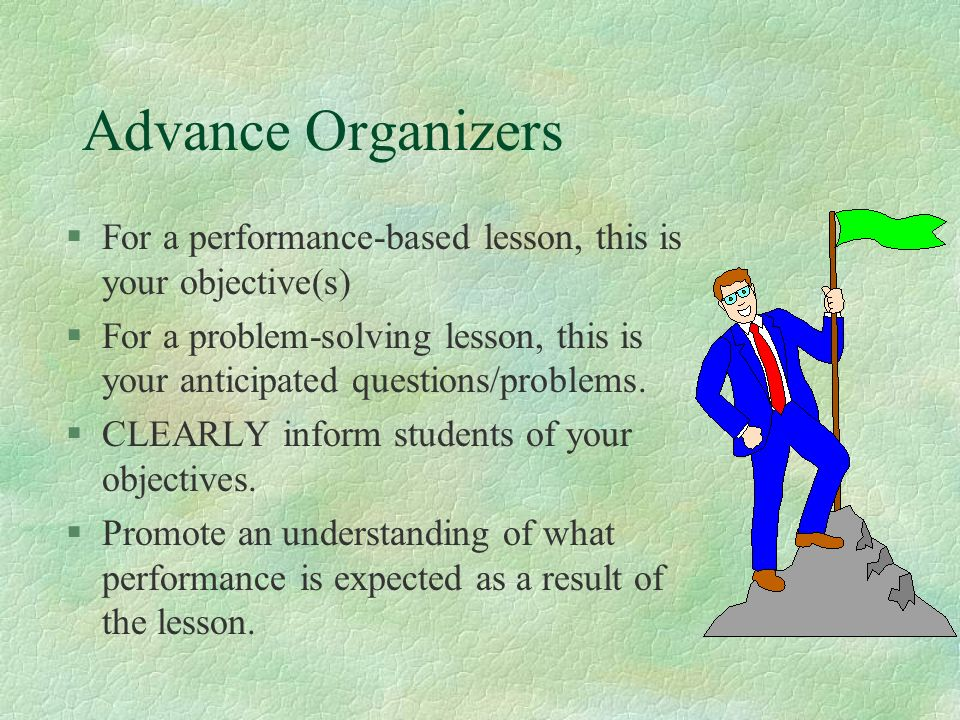 Advance Organizers For a performance-based lesson, this is your objective(s)