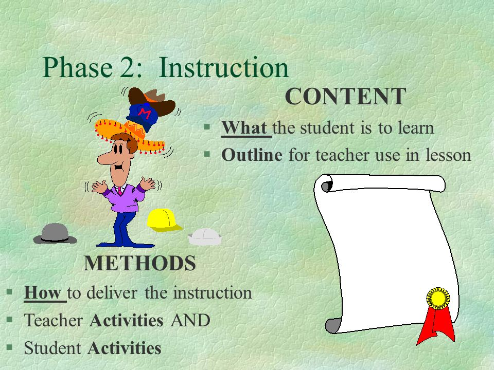 Phase 2: Instruction CONTENT METHODS What the student is to learn