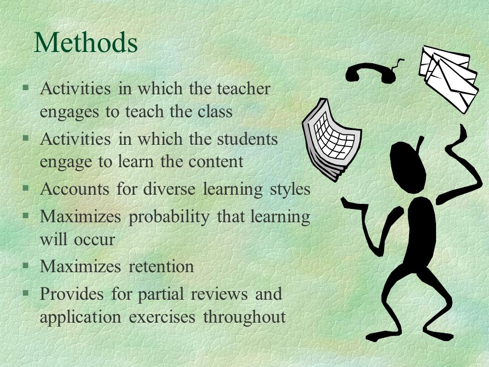 Methods Activities in which the teacher engages to teach the class