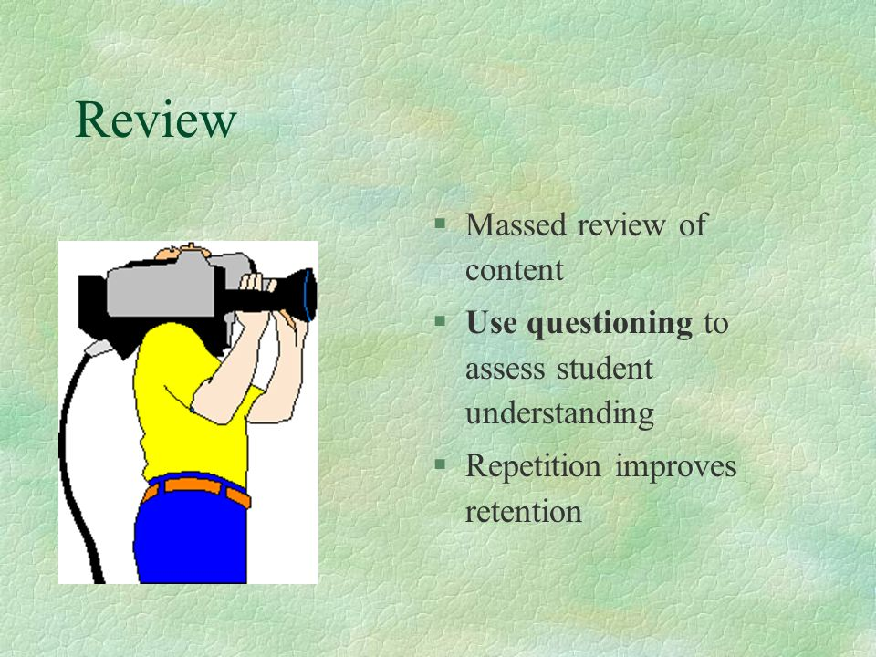 Review Massed review of content