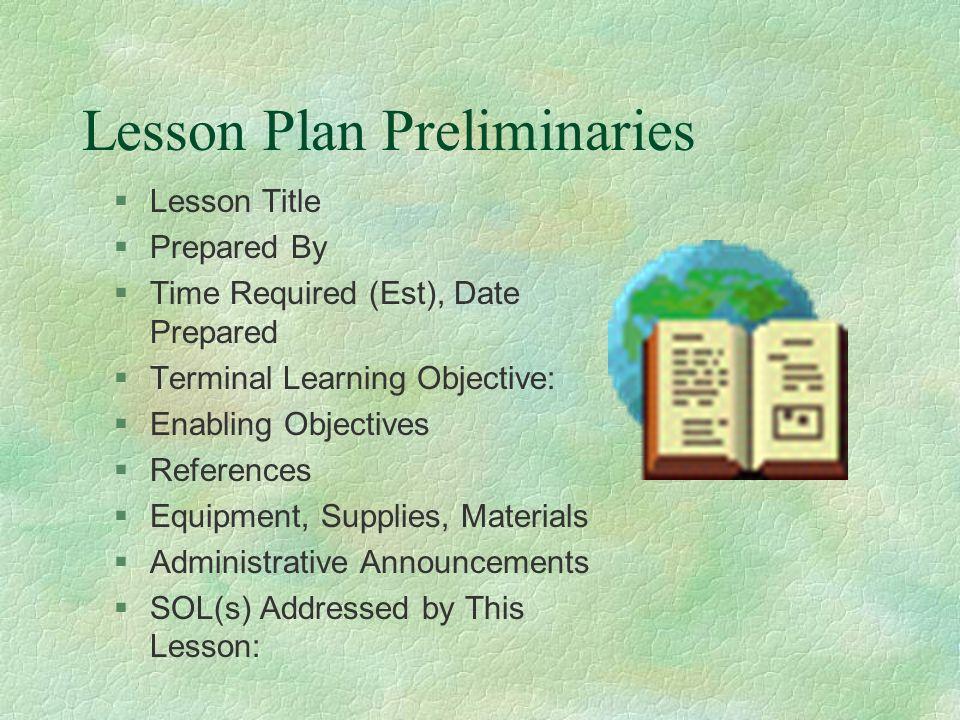 Lesson Plan Preliminaries