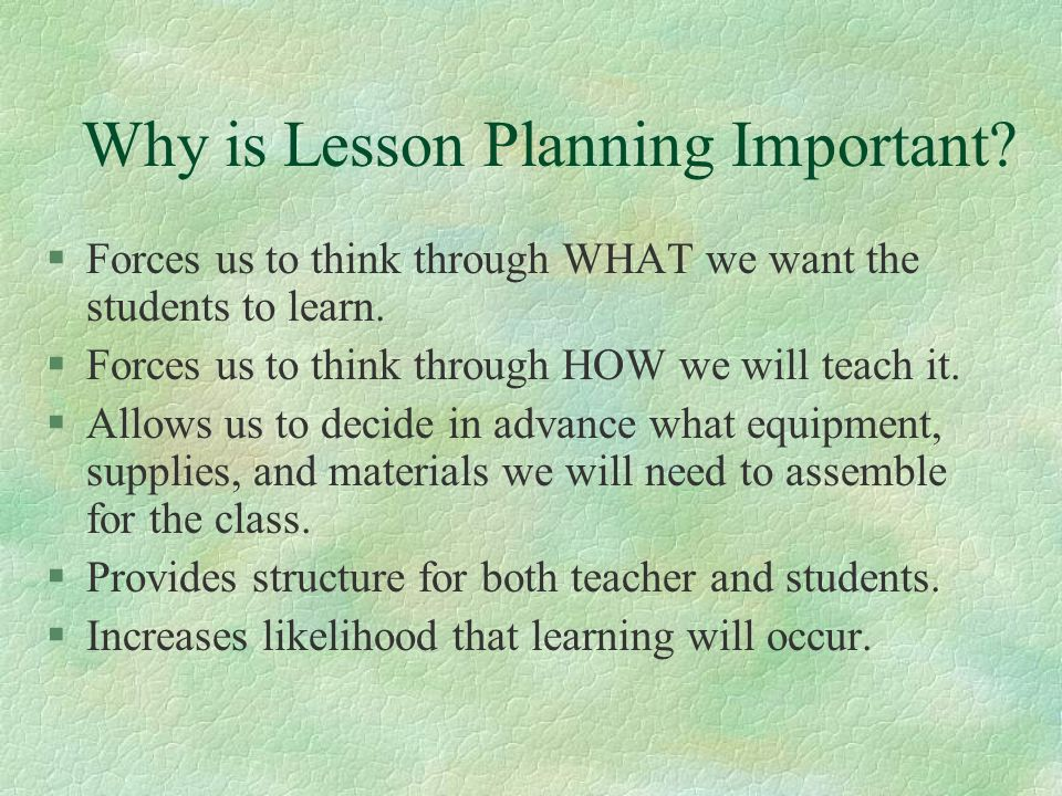 Why is Lesson Planning Important