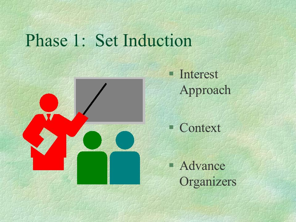Phase 1: Set Induction Interest Approach Context Advance Organizers