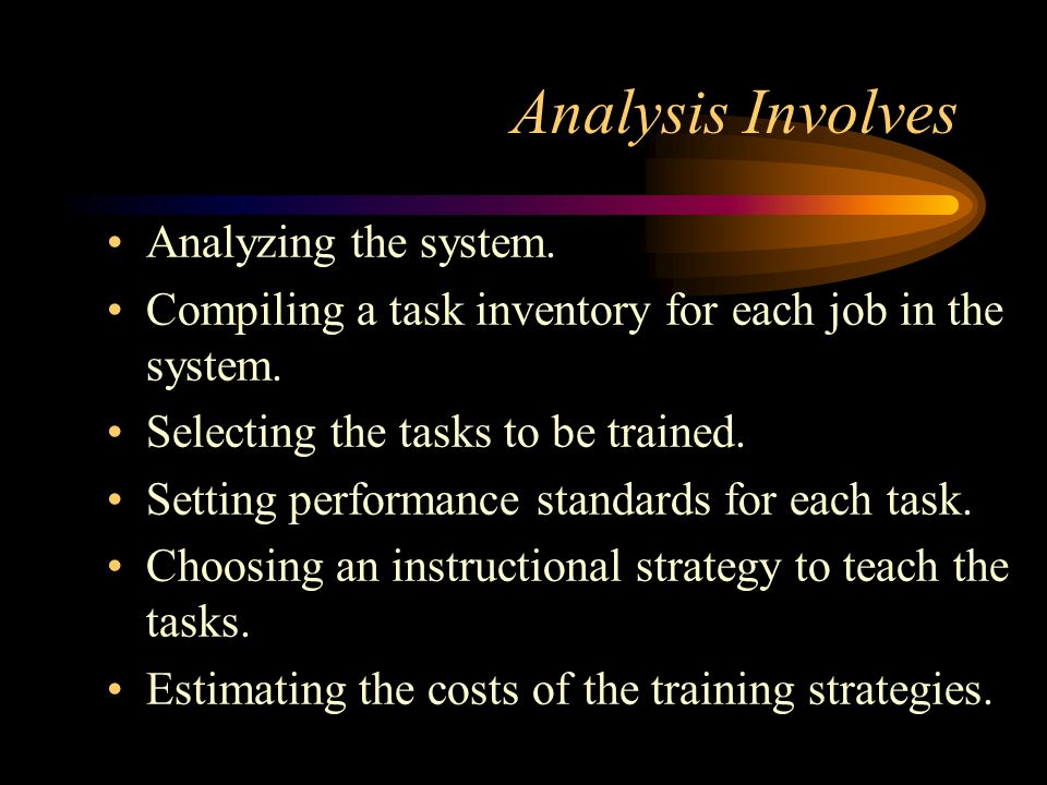 Analysis Involves Analyzing the system.