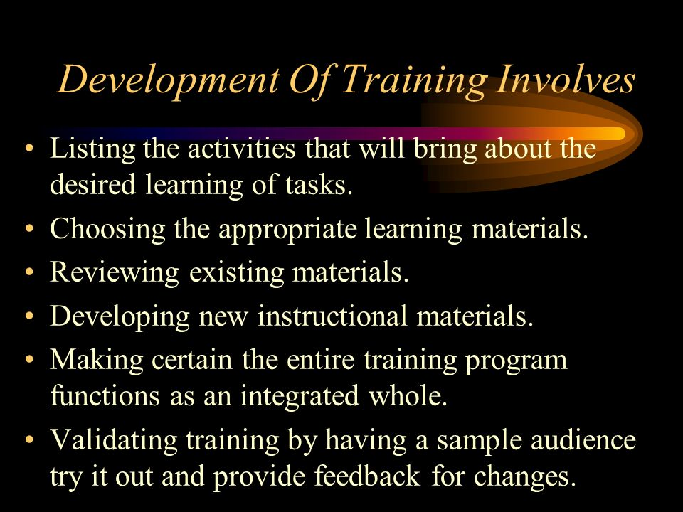 Development Of Training Involves