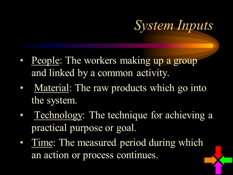 System Inputs People: The workers making up a group and linked by a common activity. Material: The raw products which go into the system.