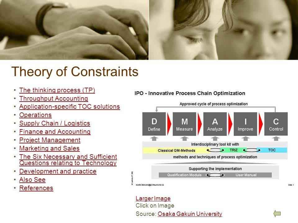 Theory of Constraints The thinking process (TP) Throughput Accounting