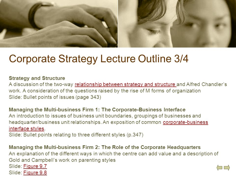 Corporate Strategy Lecture Outline 3/4