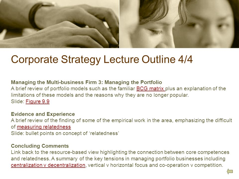 Corporate Strategy Lecture Outline 4/4