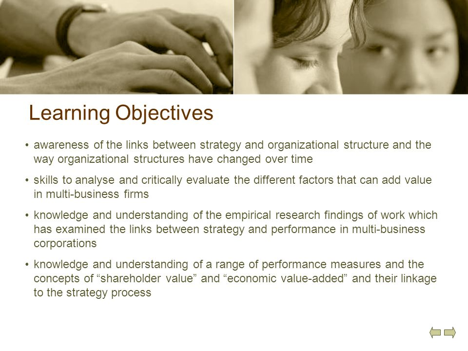 Learning Objectives awareness of the links between strategy and organizational structure and the way organizational structures have changed over time.