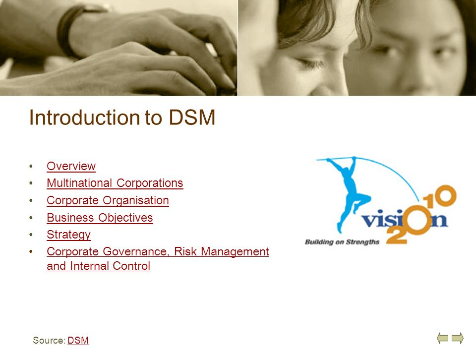 Introduction to DSM Overview Multinational Corporations