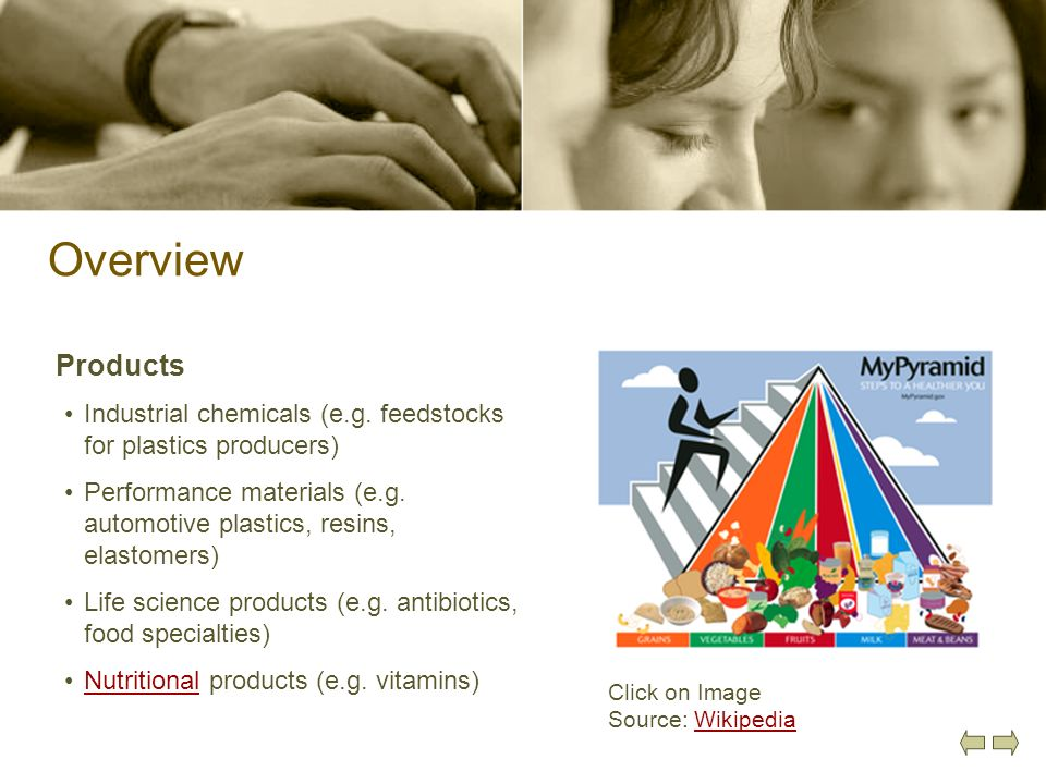 Overview Products. Industrial chemicals (e.g. feedstocks for plastics producers)
