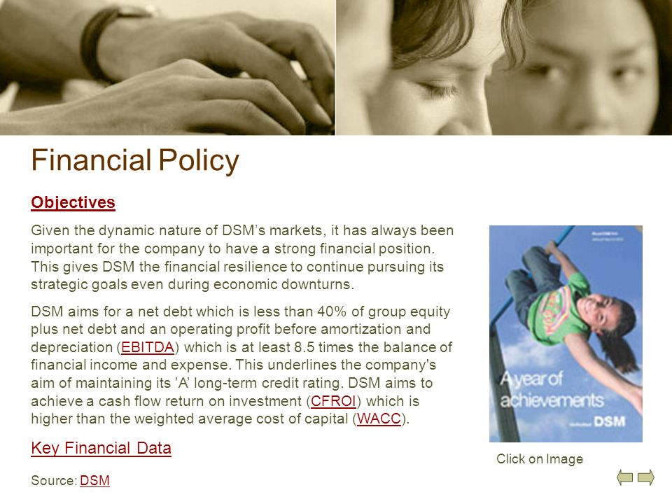 Financial Policy Objectives Key Financial Data