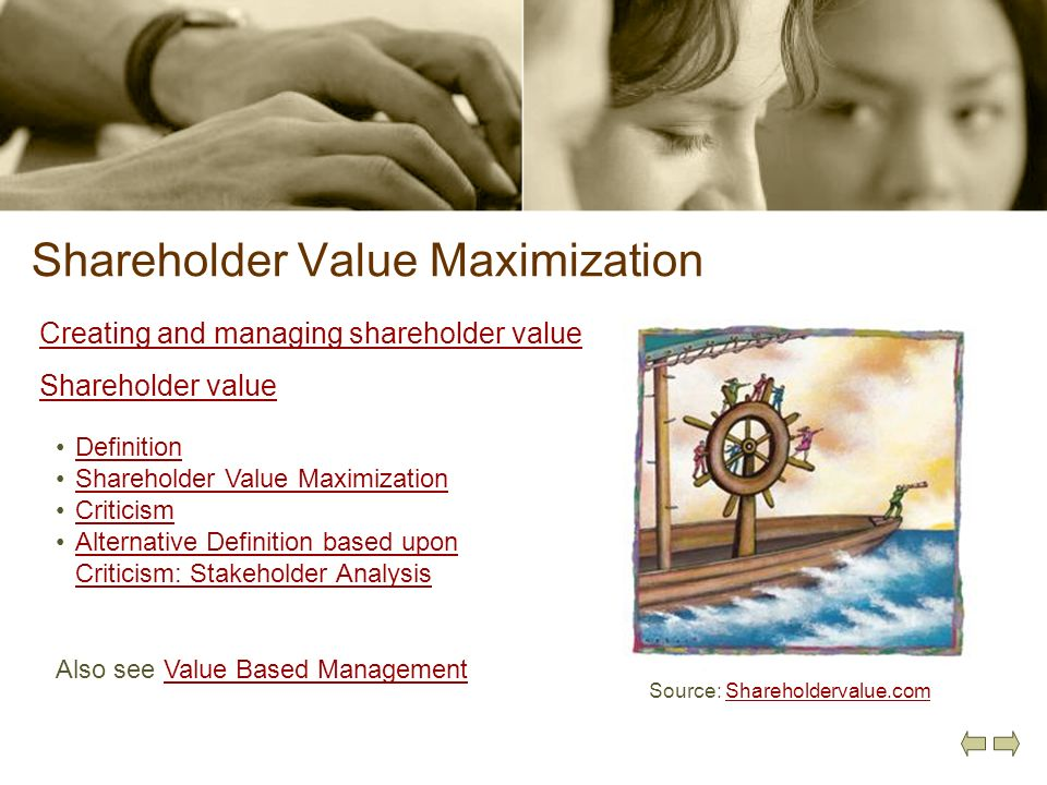 Shareholder Value Maximization