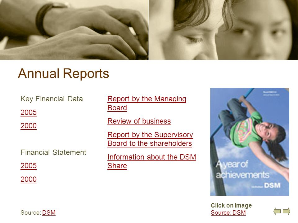 Annual Reports Key Financial Data 2005 2000 Financial Statement