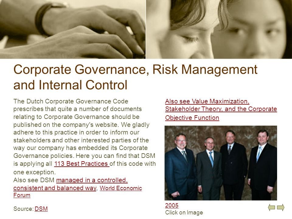 Corporate Governance, Risk Management and Internal Control