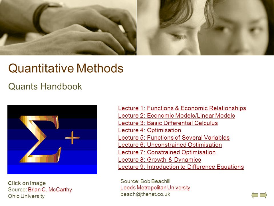 Quantitative Methods Quants Handbook
