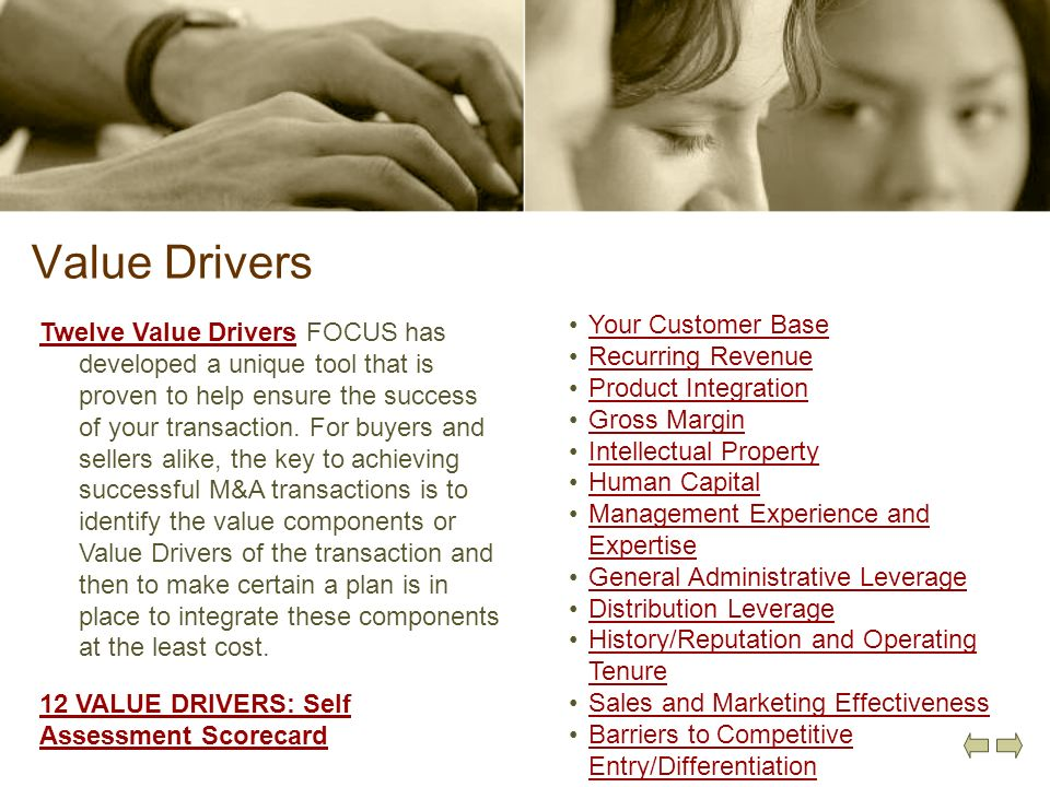 Value Drivers Your Customer Base