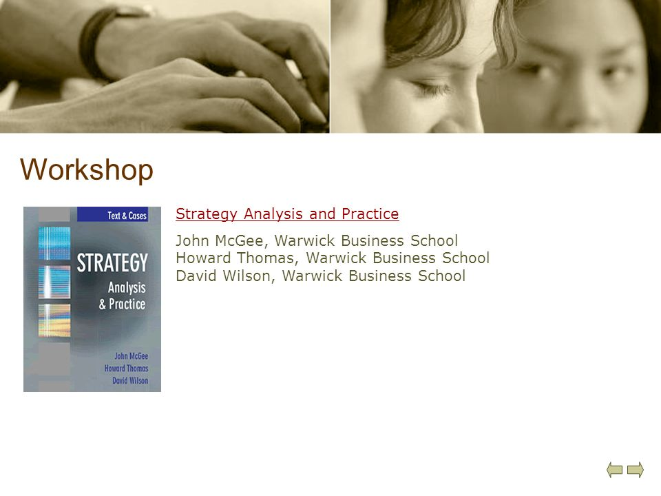 Workshop Strategy Analysis and Practice