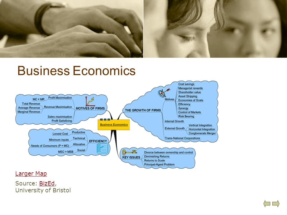 Business Economics Larger Map Source: BizEd, University of Bristol