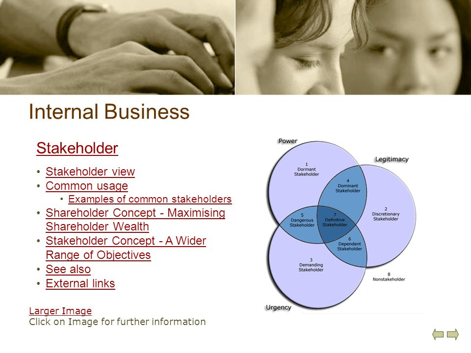 Internal Business Stakeholder Stakeholder view Common usage