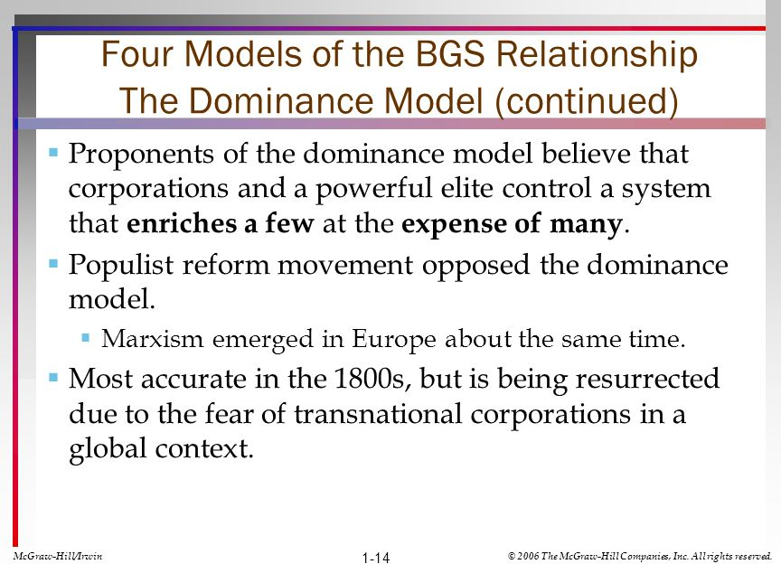 Four Models of the BGS Relationship The Dominance Model (continued)
