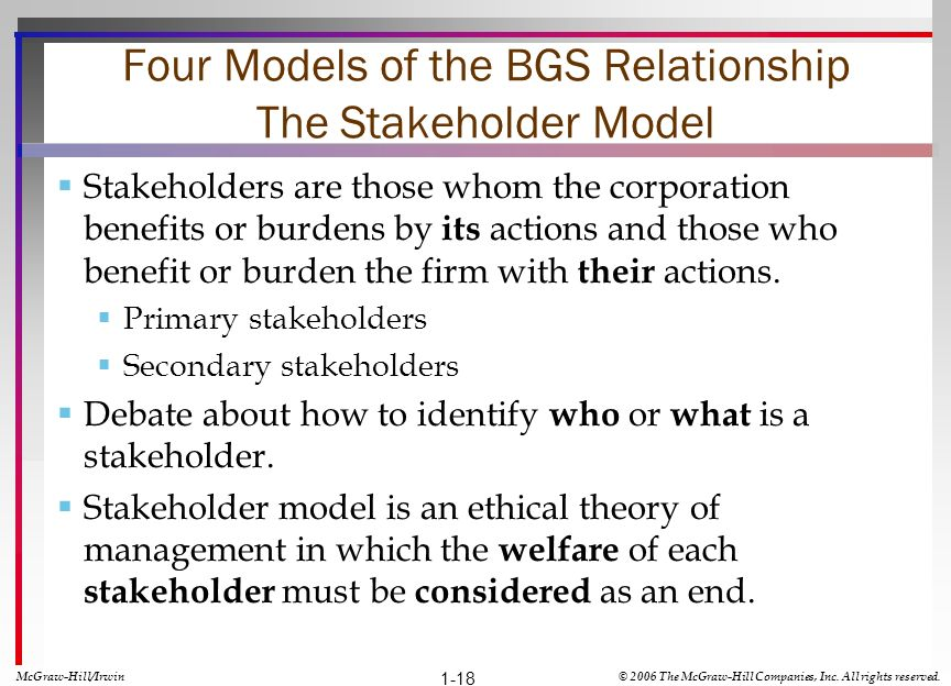 Four Models of the BGS Relationship The Stakeholder Model