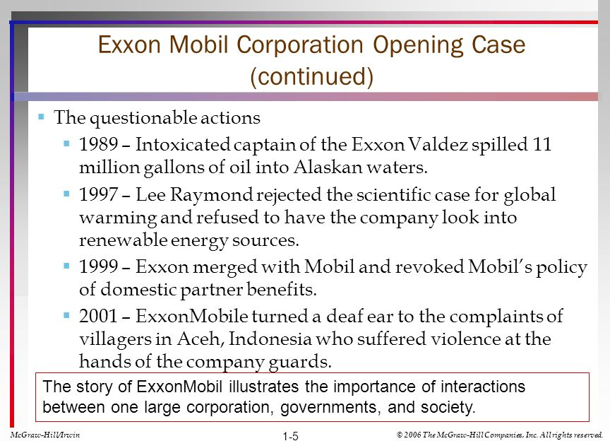 Exxon Mobil Corporation Opening Case (continued)