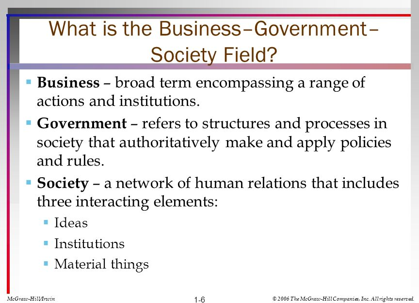 What is the Business–Government– Society Field