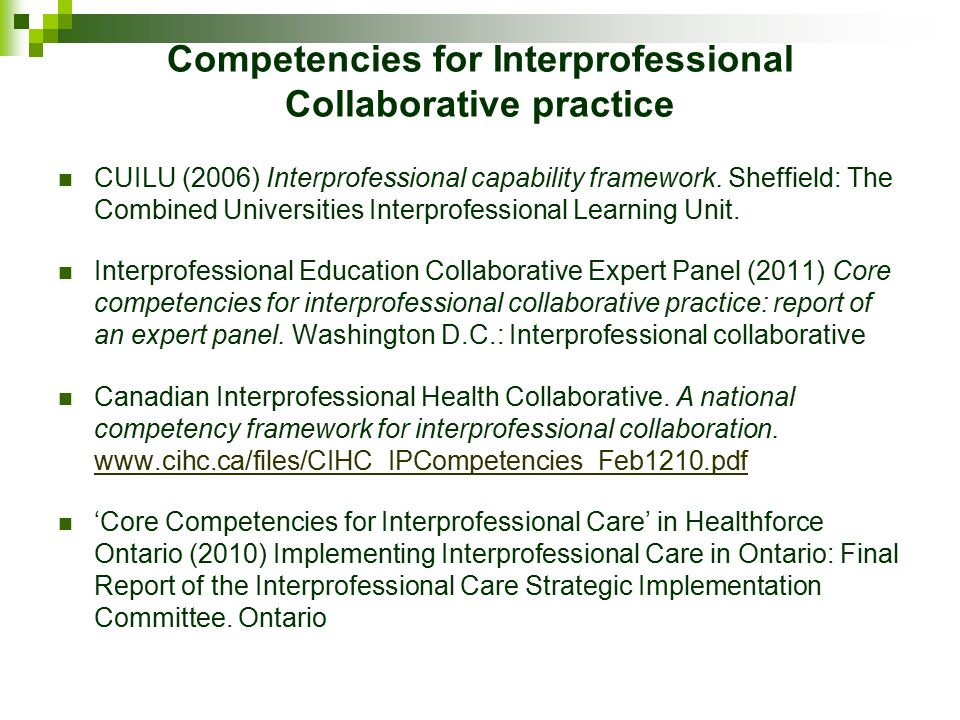 Collaboration in professional practice