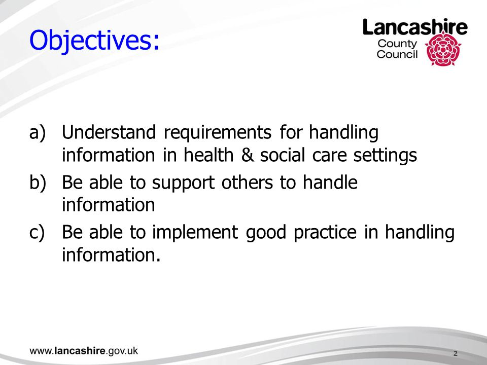 handle information in health and social Handle information in health and social care settings (unit ref: j/601/8142) promote good practice in handling information in health and social care settings (unit ref : j/601/9470) introduction to equality and inclusion in health, social care or children's and young people's.