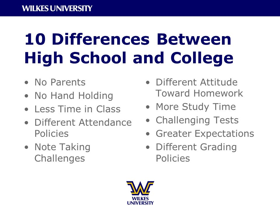 comparison of high school and college Comparison : high school vs  nevertheless, several of the requirements that  apply through high school are different from the requirements that apply beyond  high school  q should i tell about my disability on my application to college.