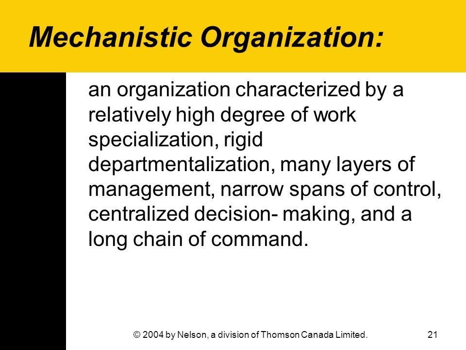 Mechanistic Organization: