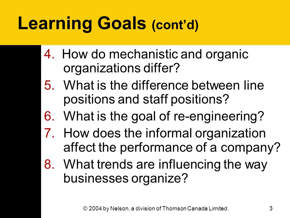 Learning Goals (cont'd)