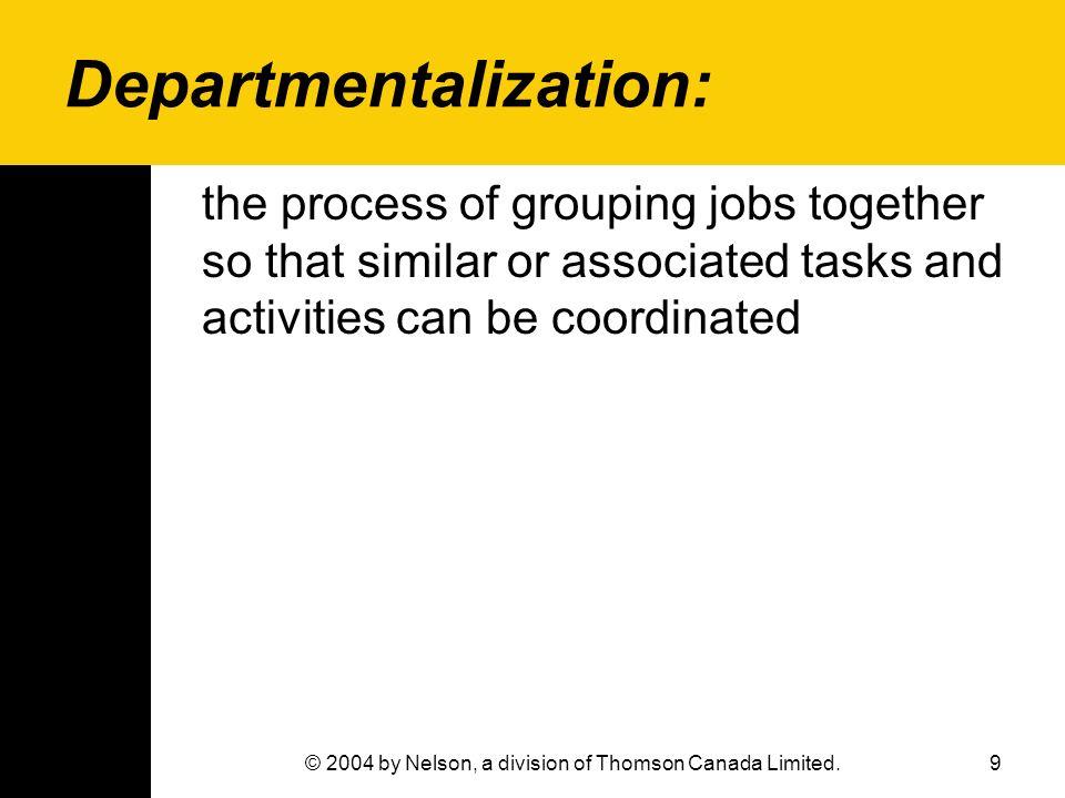 Departmentalization: