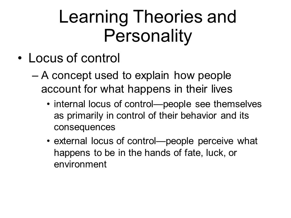 Learning Theories and Personality