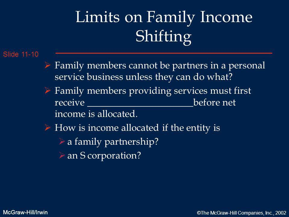 Limits on Family Income Shifting