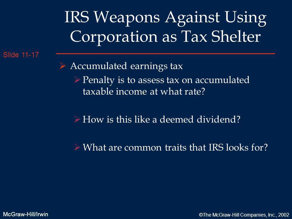 IRS Weapons Against Using Corporation as Tax Shelter