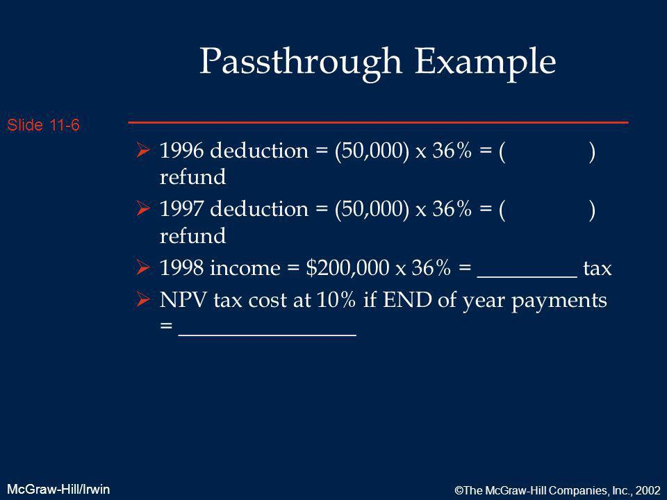 Passthrough Example 1996 deduction = (50,000) x 36% = ( ) refund