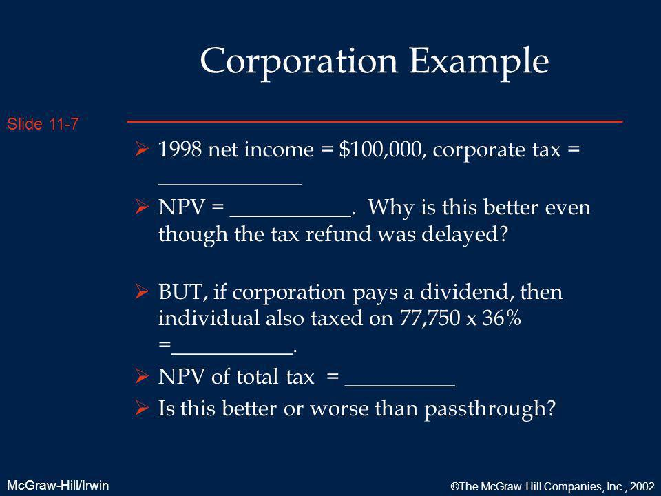 Corporation Example 1998 net income = $100,000, corporate tax = _____________.