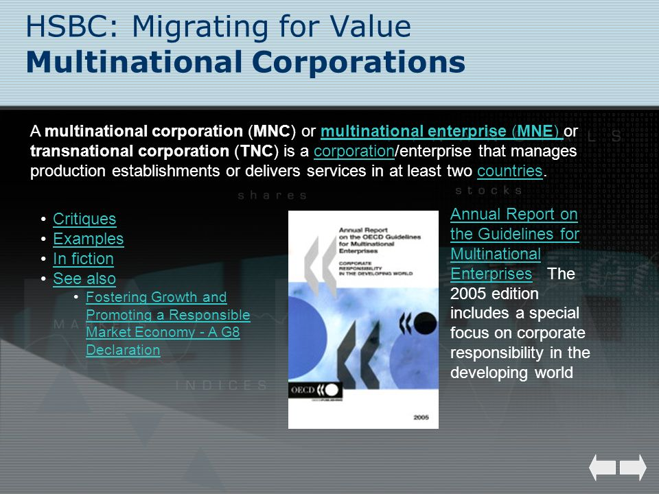 HSBC: Migrating for Value Multinational Corporations